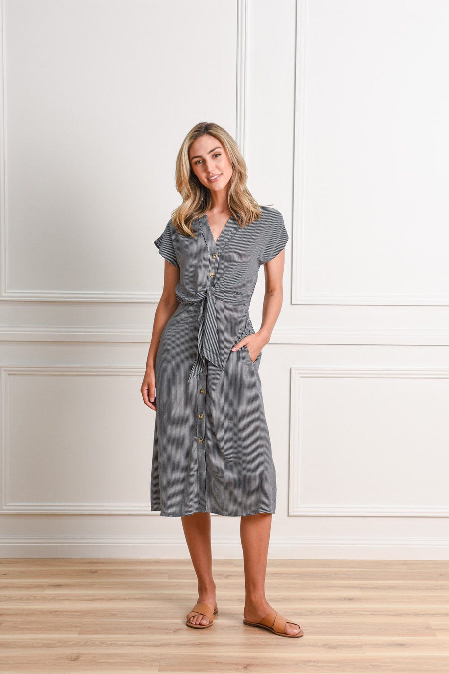 Duchess Dress | Stripe Dress Gray Label