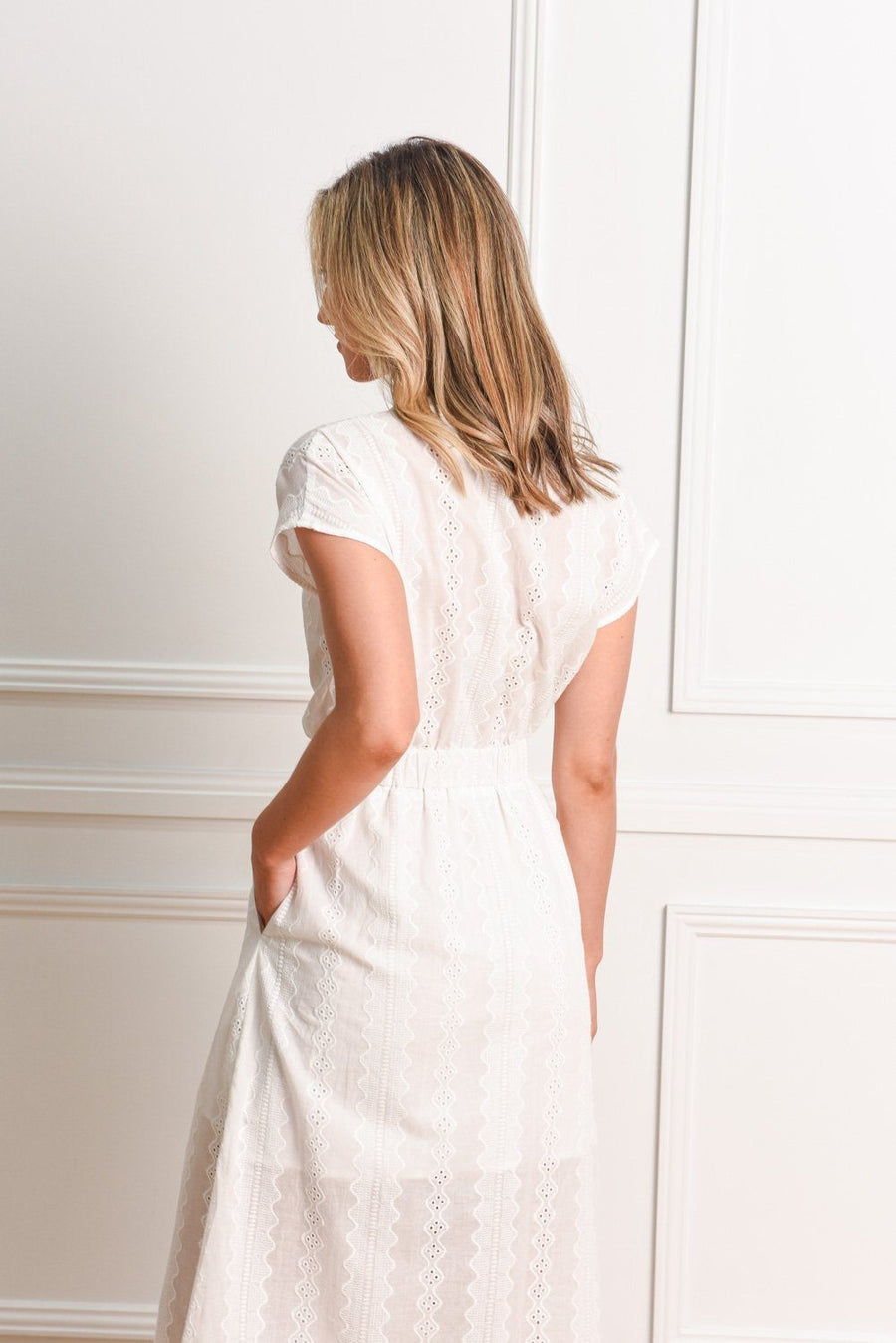 Duchess Dress | White Embriodery Dress Gray Label
