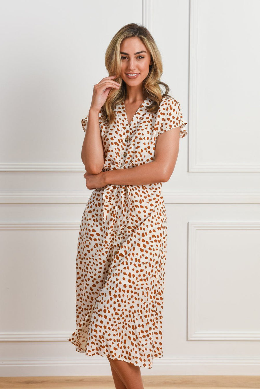 Duchess Dress | White & Tan Leopard Print Dress Gray Label