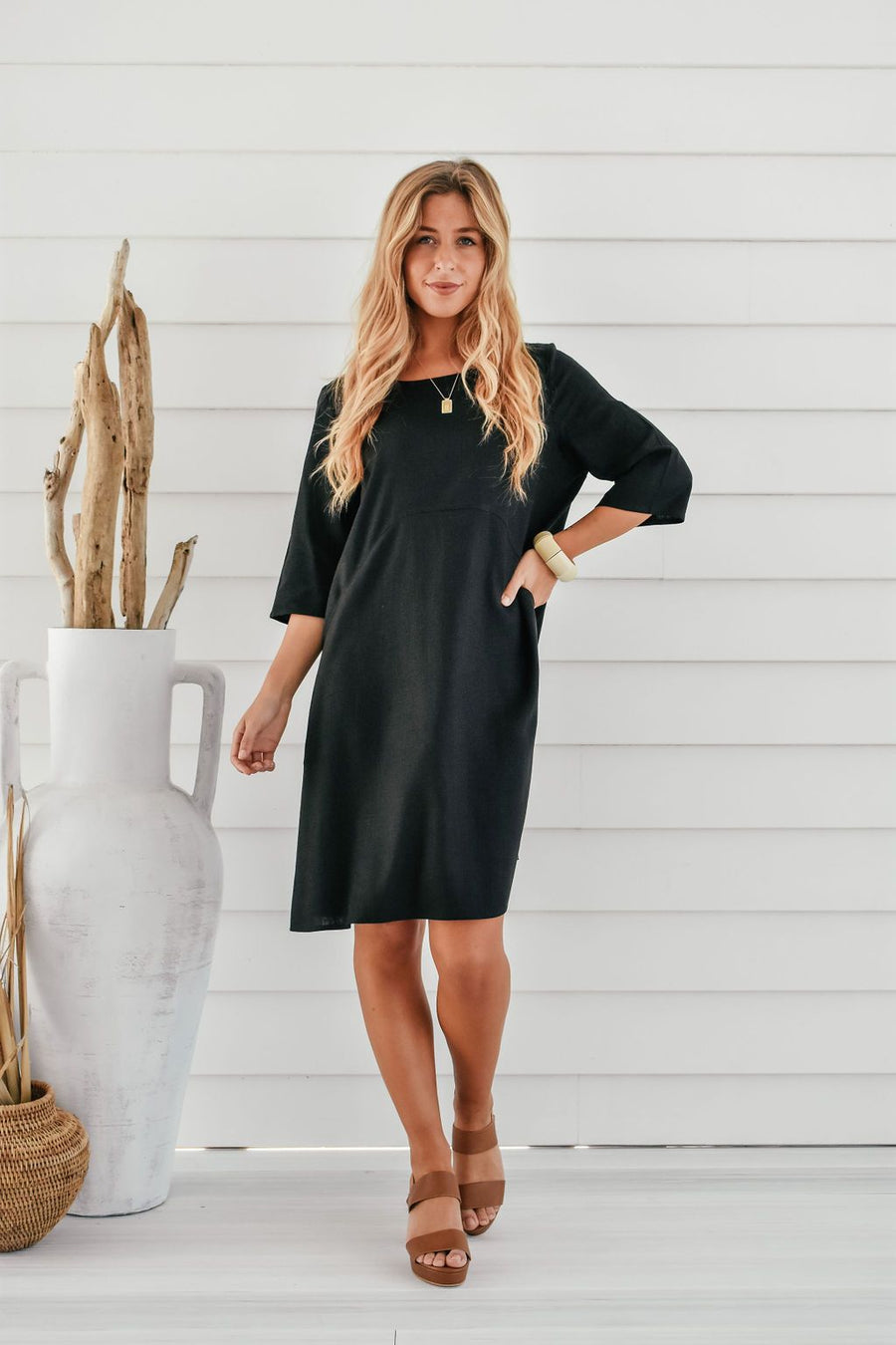 Ellie Linen Shift Dress | Black Dress Gray Label