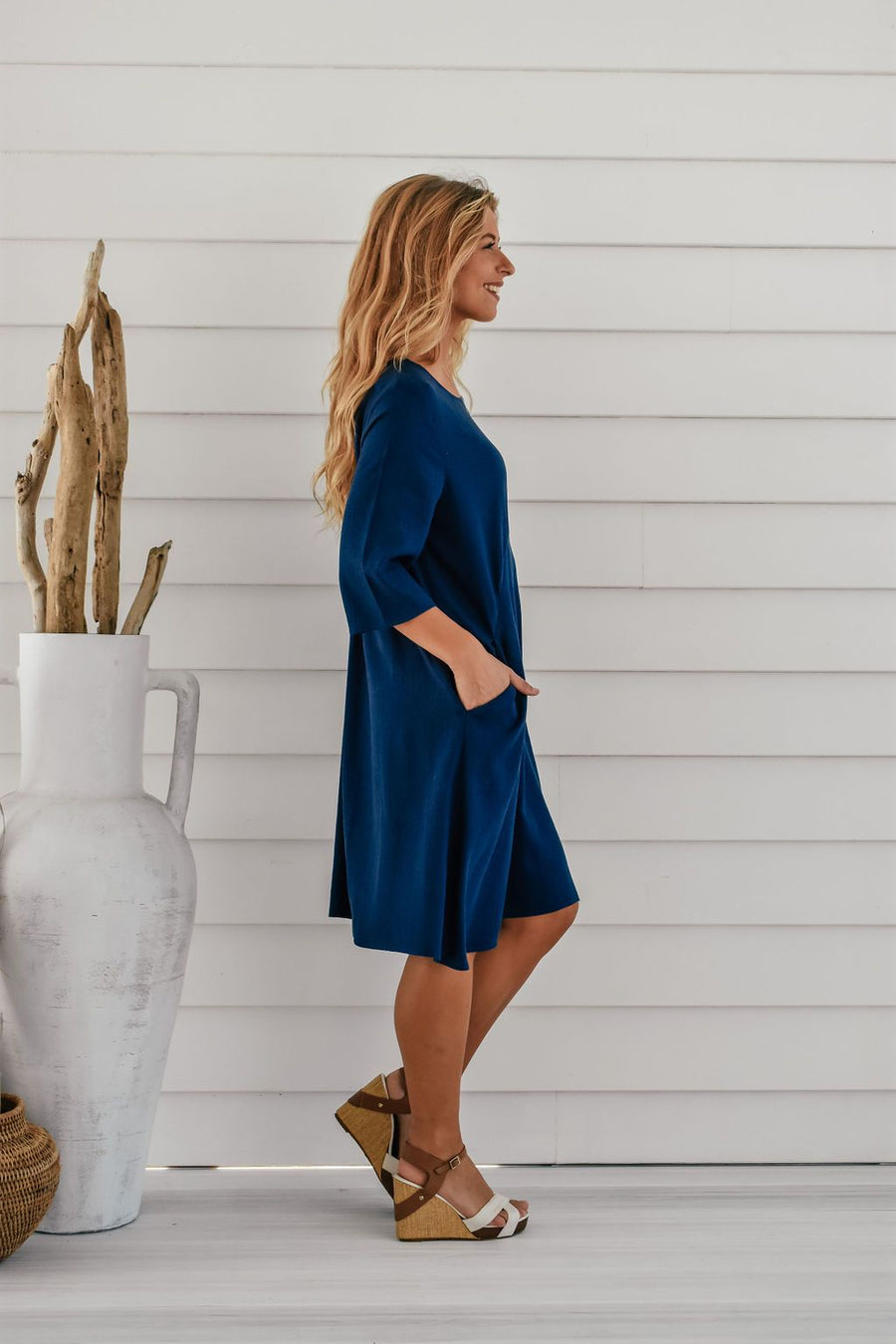 Ellie Linen Shift Dress | Indigo Dress Gray Label