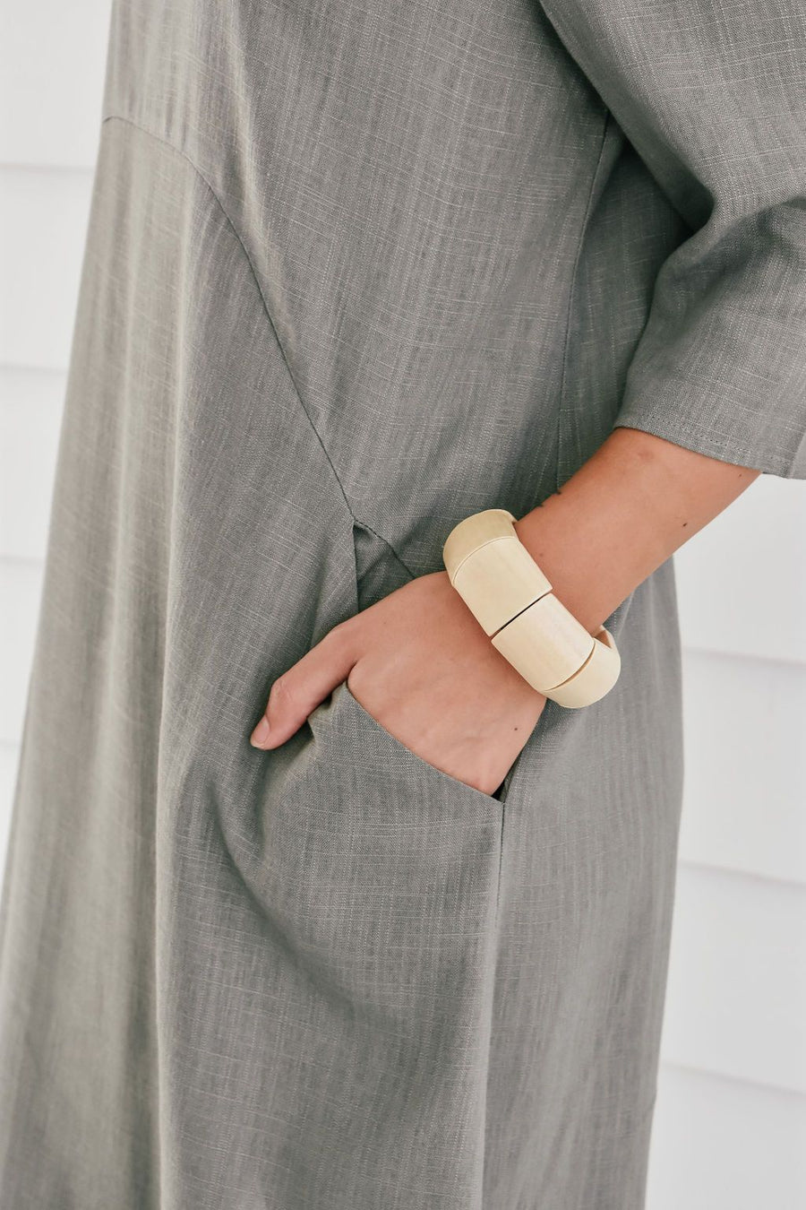 Ellie Linen Shift Dress | Khaki Dress Gray Label