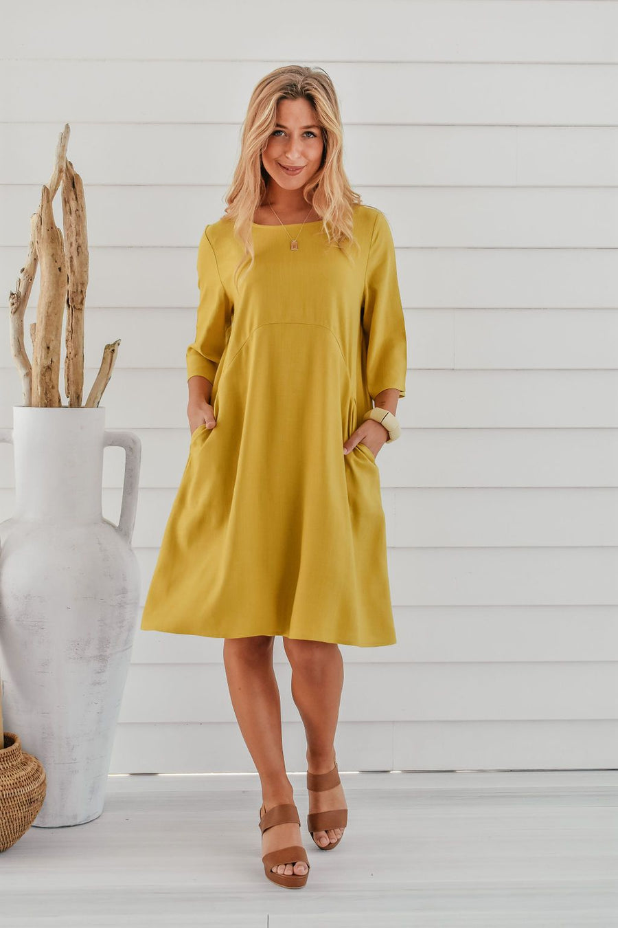 Ellie Linen Shift Dress | Mustard Dress Gray Label