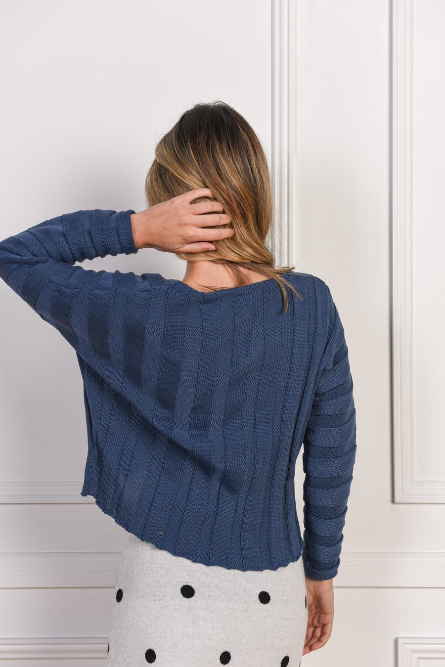 Elsa Knit Top | Navy Knit Gray Label
