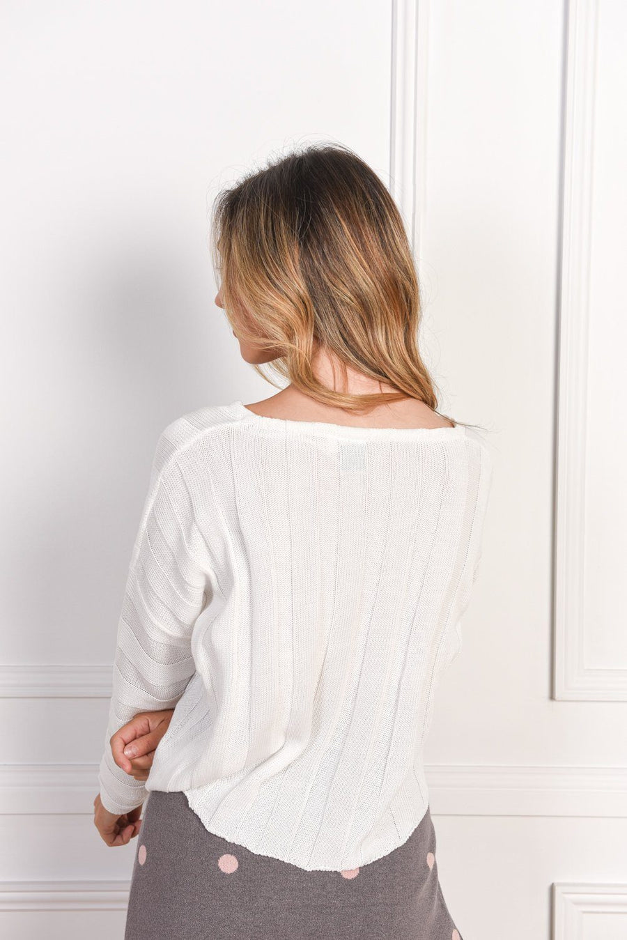 Elsa Knit Top | White Knit Gray Label