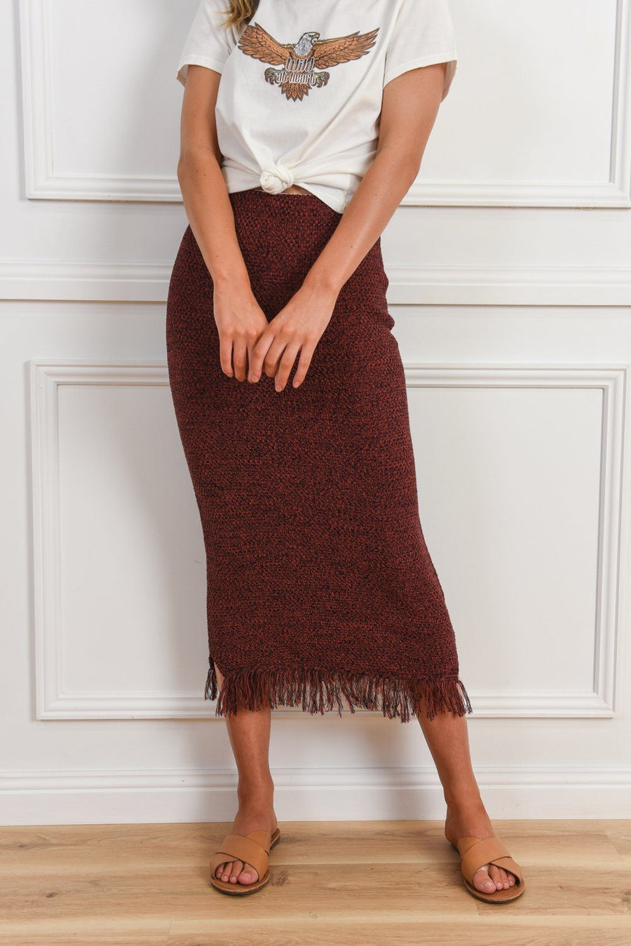 Emma Fringe Skirt | Burgundy Skirt Gray.Label