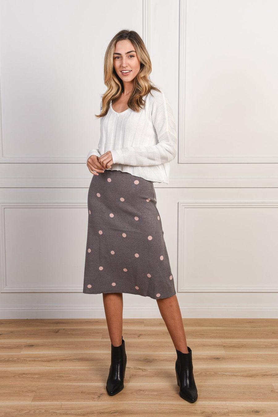 Emma Knit Skirt | Grey & Pink Skirt Gray Label