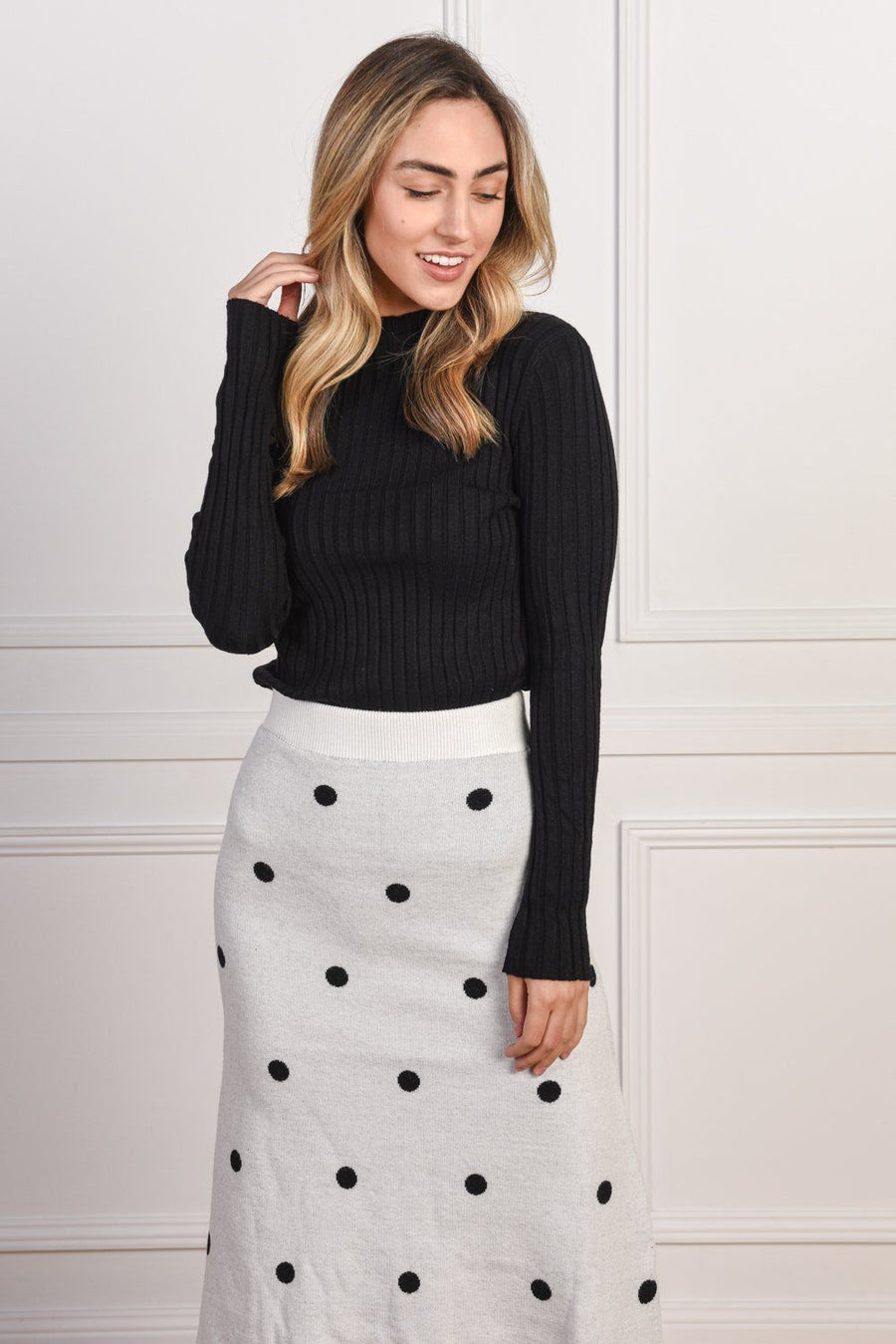 Emma Knit Skirt | Monochrome Skirt Gray Label