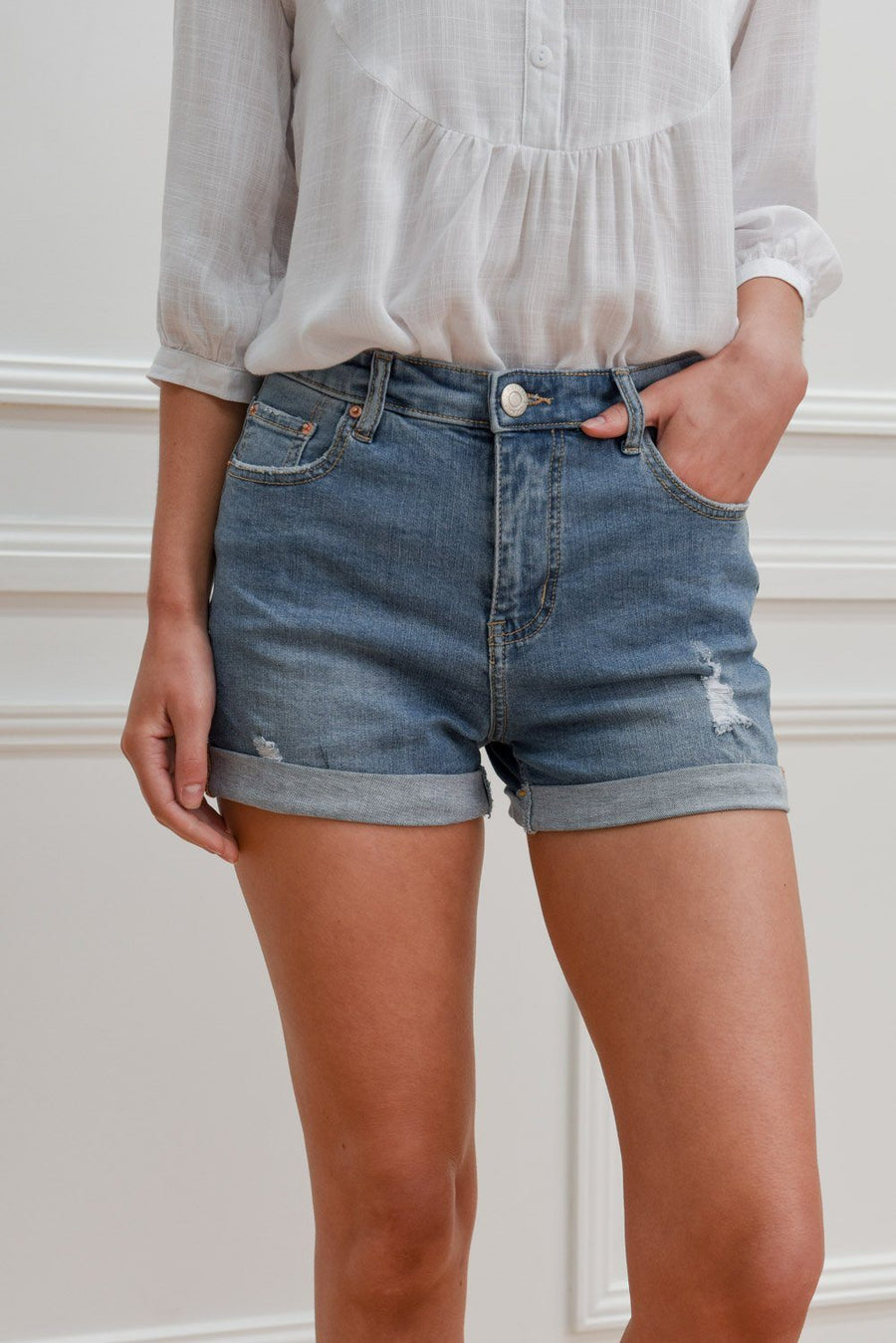 Eve Denimn Shorts | Light Blue Shorts Gray Label