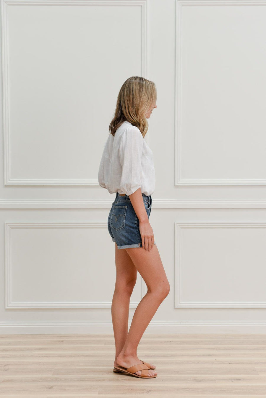 Eve Denimn Shorts | Mid Blue Shorts Gray Label