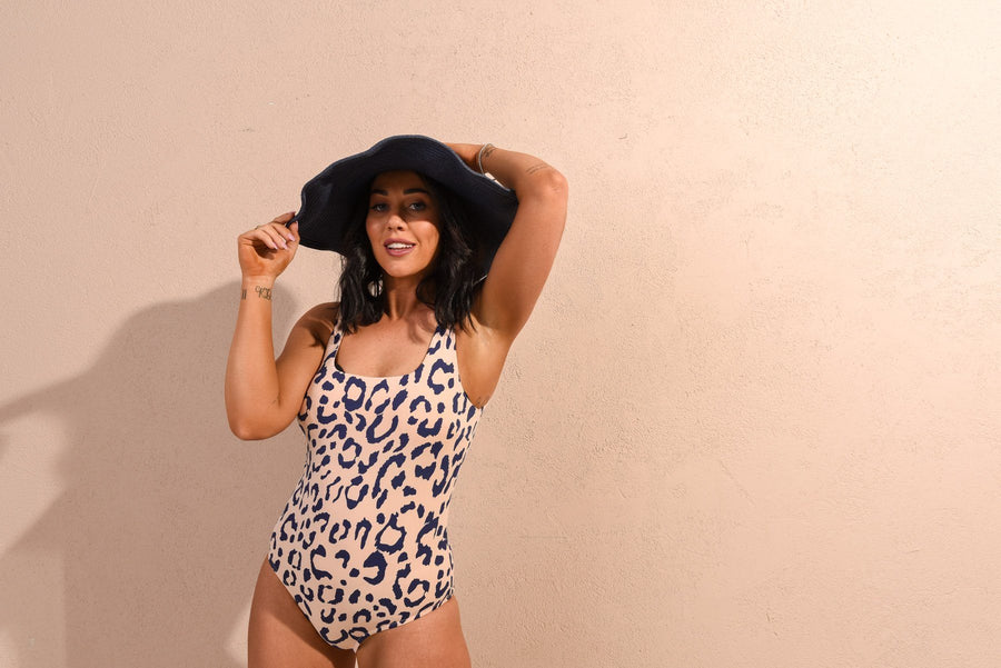 Florence Bathers | Exclusive Pink & Navy Leopard Print (Sleeveless) - Gray Label Bathers Gray Label