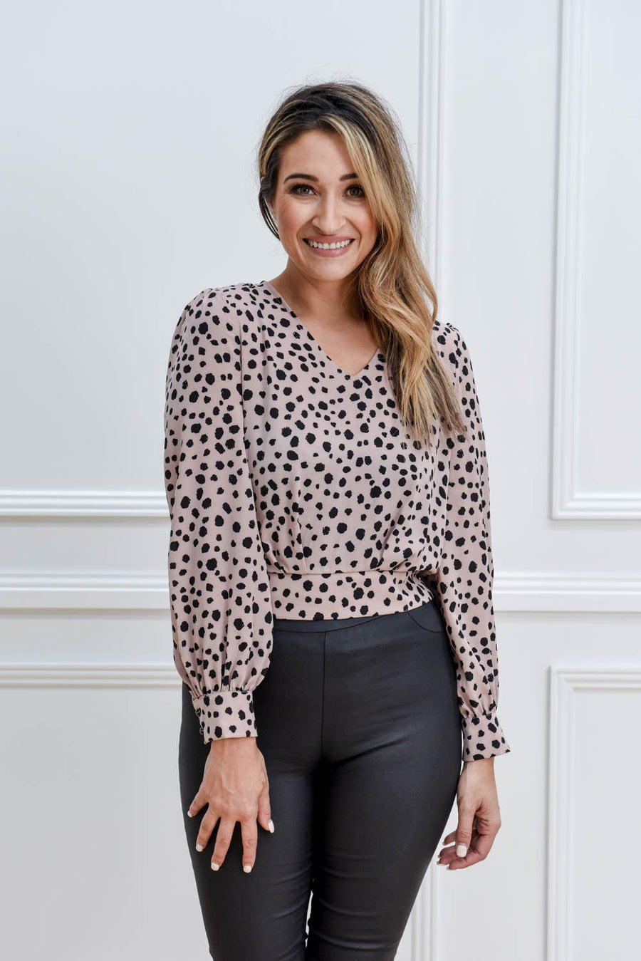 Gemma Top | Pink Leopard Top Gray Label