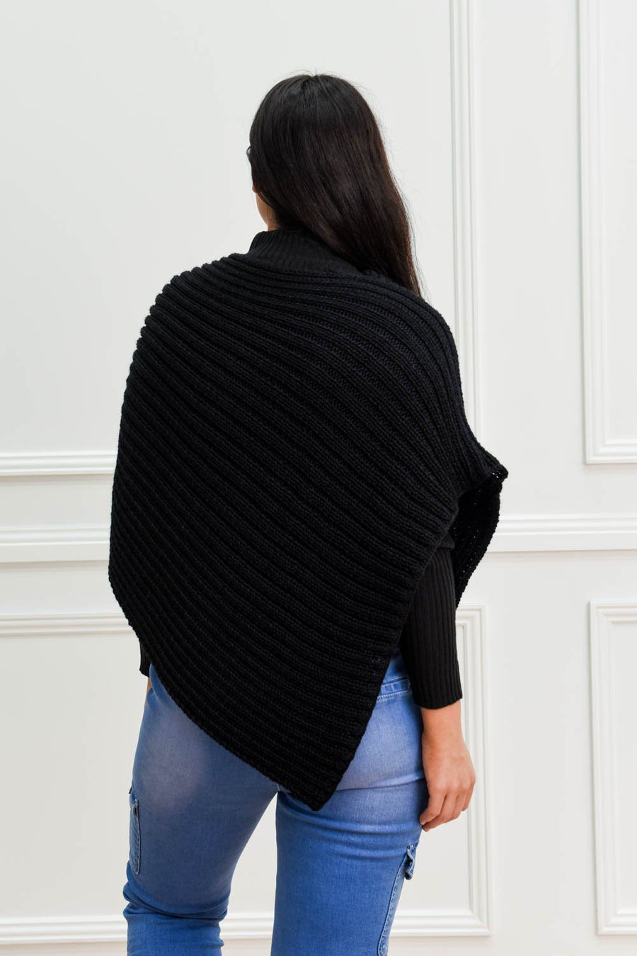 Gigi Poncho | Black Top Gray Label