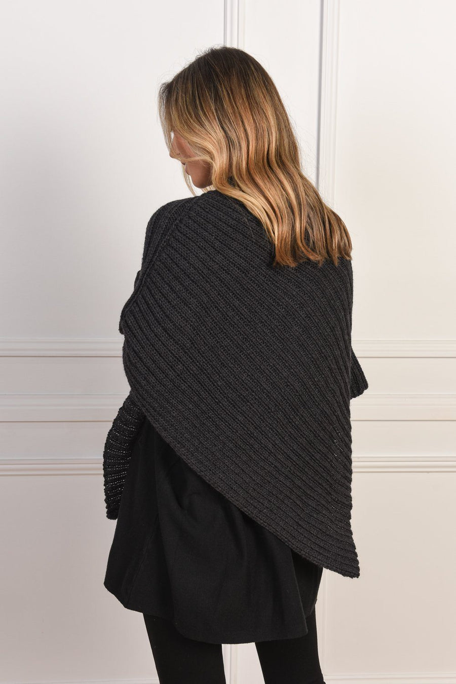 Gigi Poncho | Charcoal Top Gray Label
