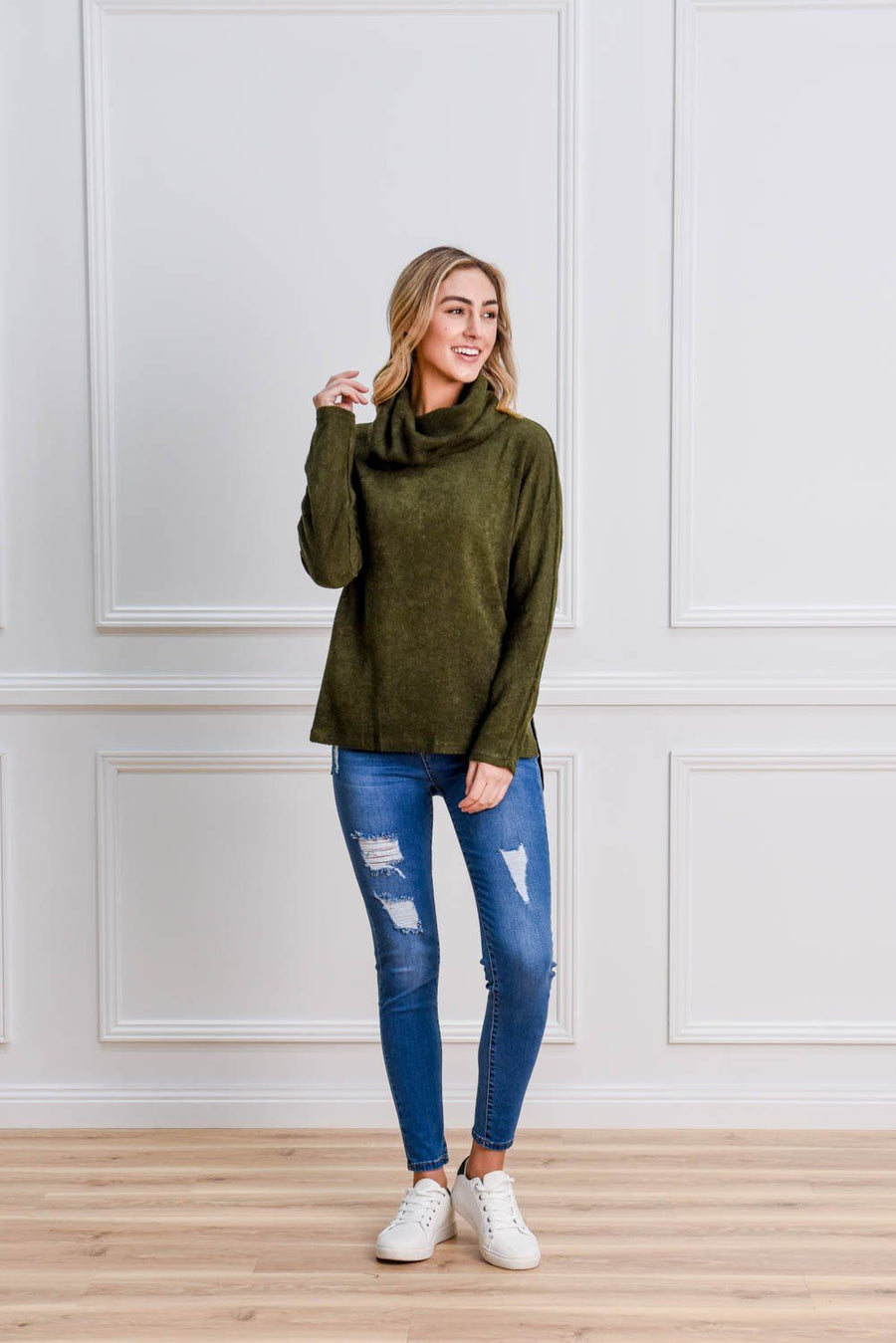 Gracie Roll Neck Knit Top Gray Label