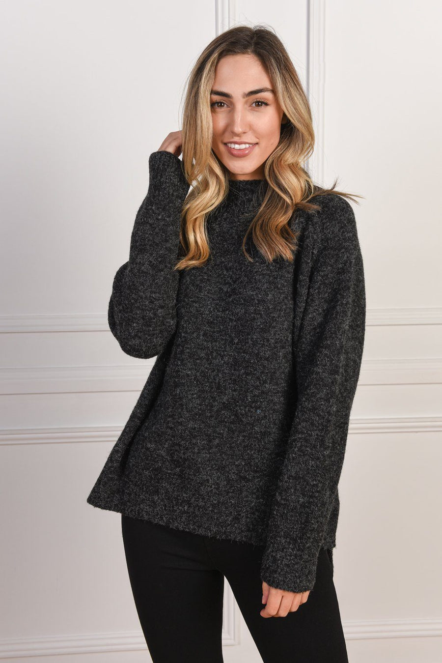 Heidi High Neck Sweater | Black - Gray Label Knit Gray Label
