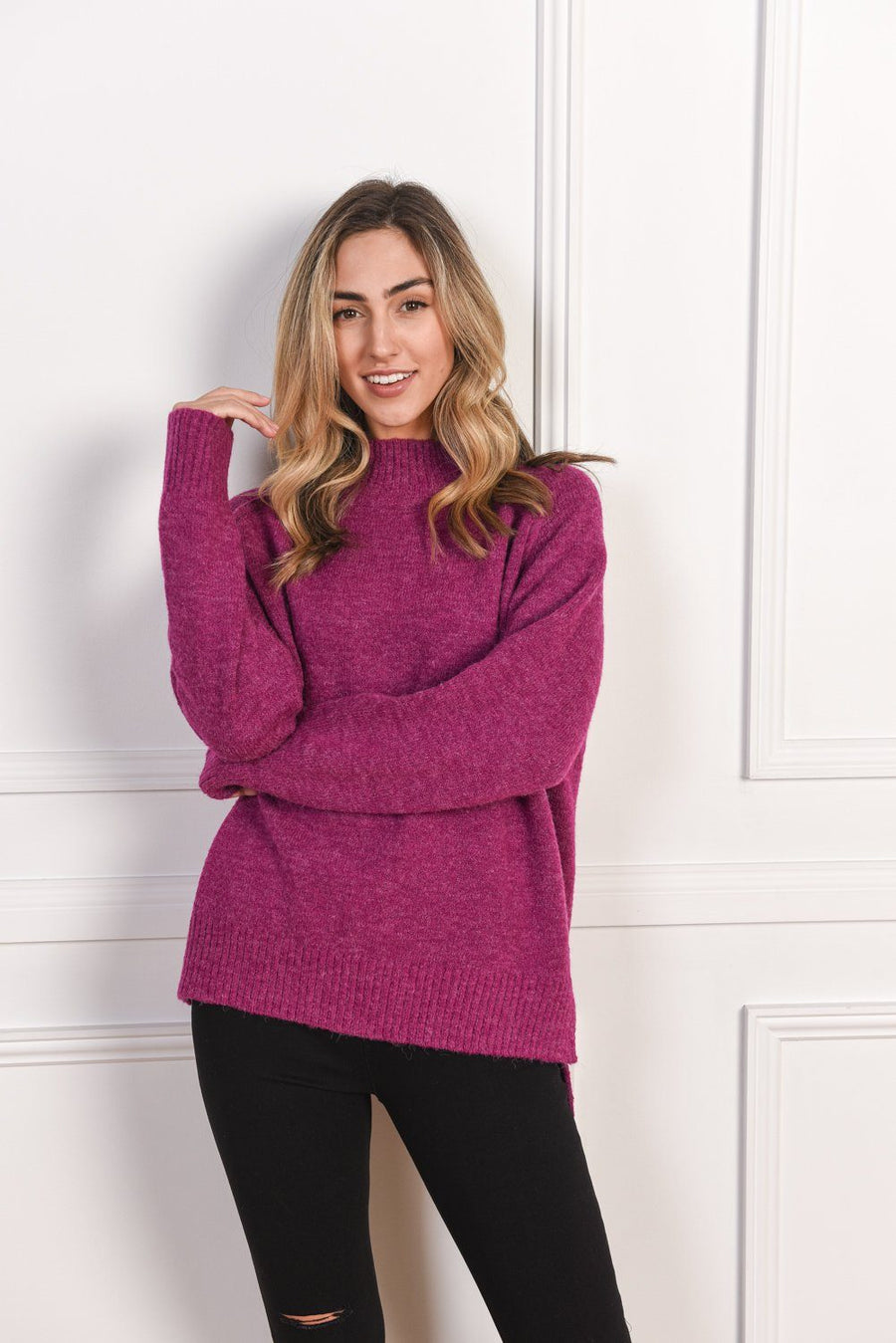 Heidi High Neck Sweater | Fuschia - Gray Label Knit Gray Label