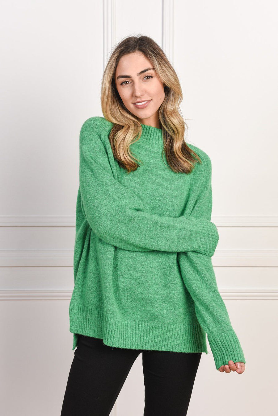 Heidi High Neck Sweater | Green - Gray Label Knit Gray Label