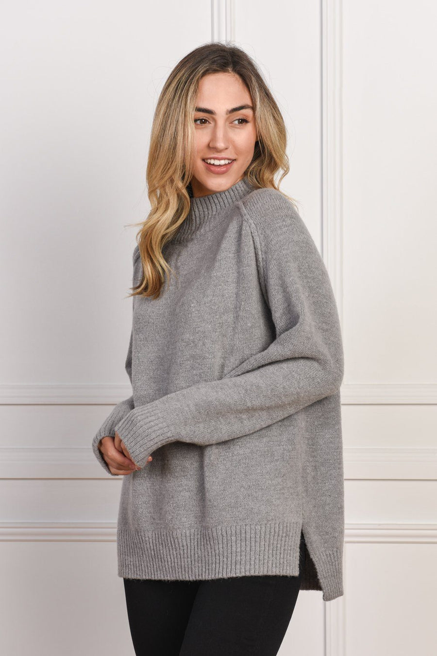 Heidi High Neck Sweater | Grey - Gray Label Knit Gray Label