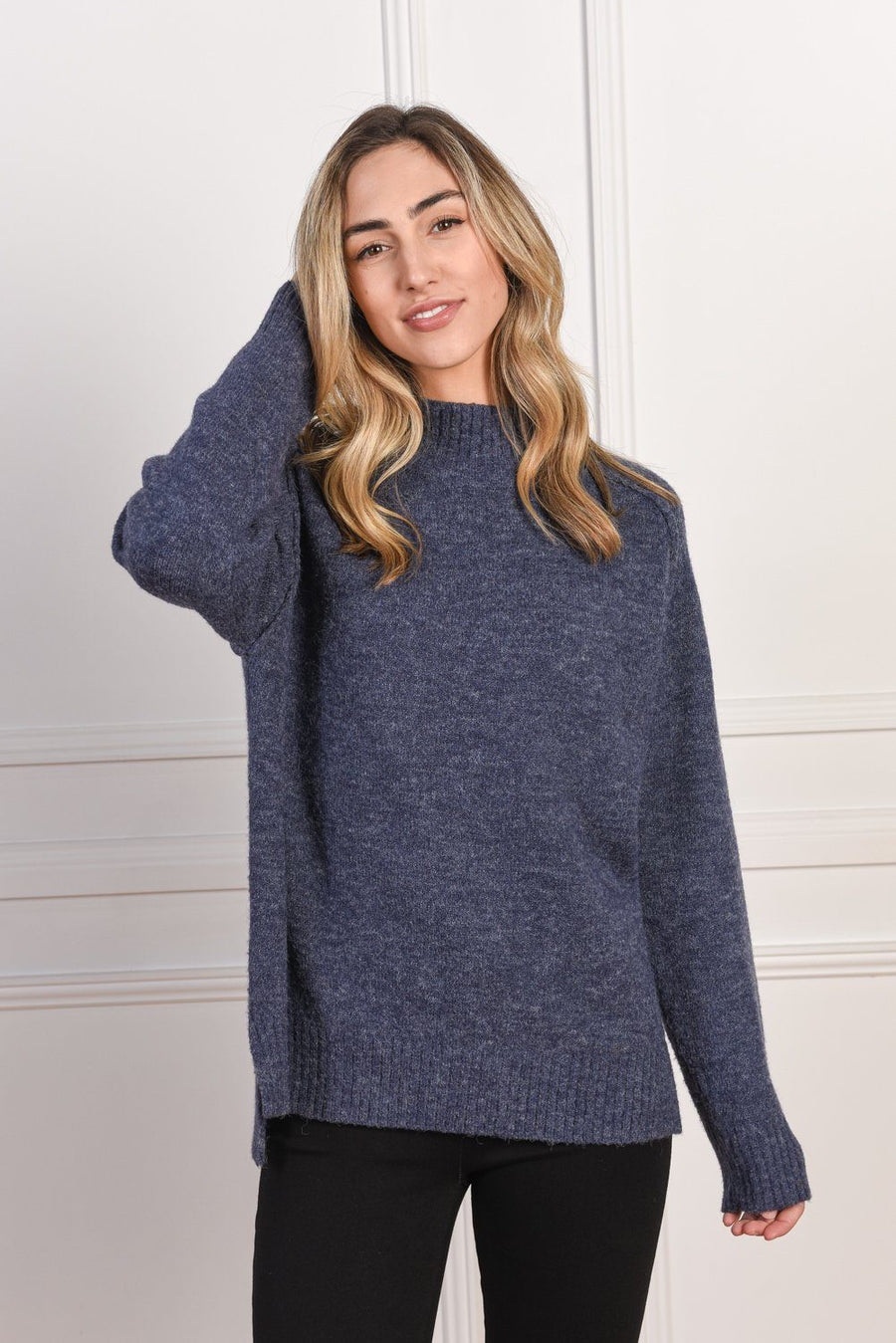 Heidi High Neck Sweater | Navy - Gray Label Knit Gray Label