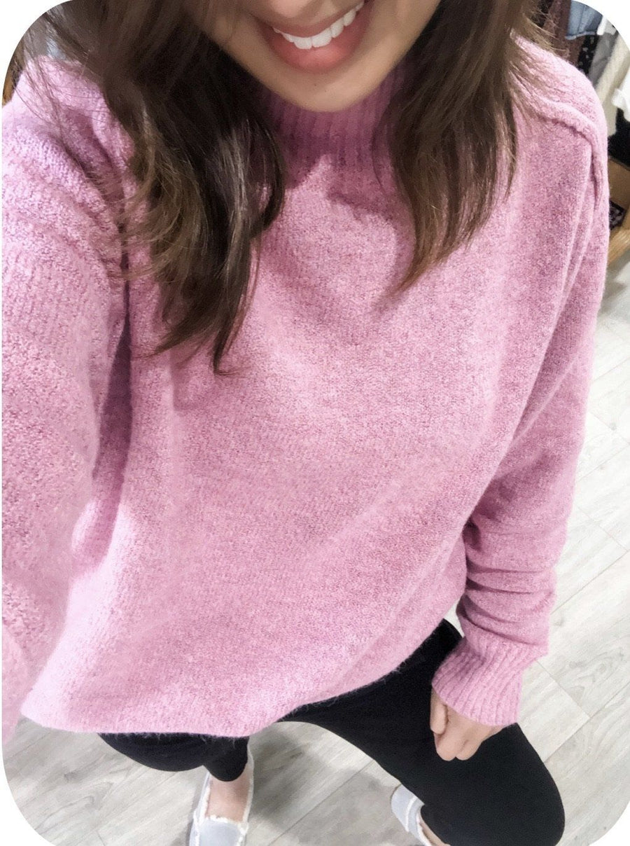 Heidi High Neck Sweater | Pink - Gray Label Knit Gray Label