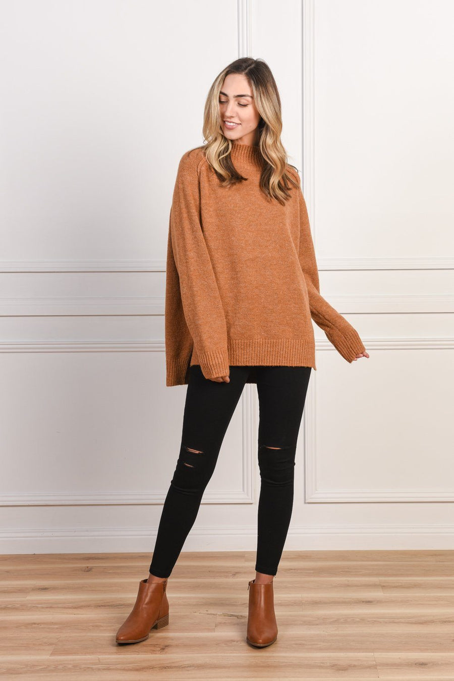 Heidi High Neck Sweater | Tan - Gray Label Knit Gray Label