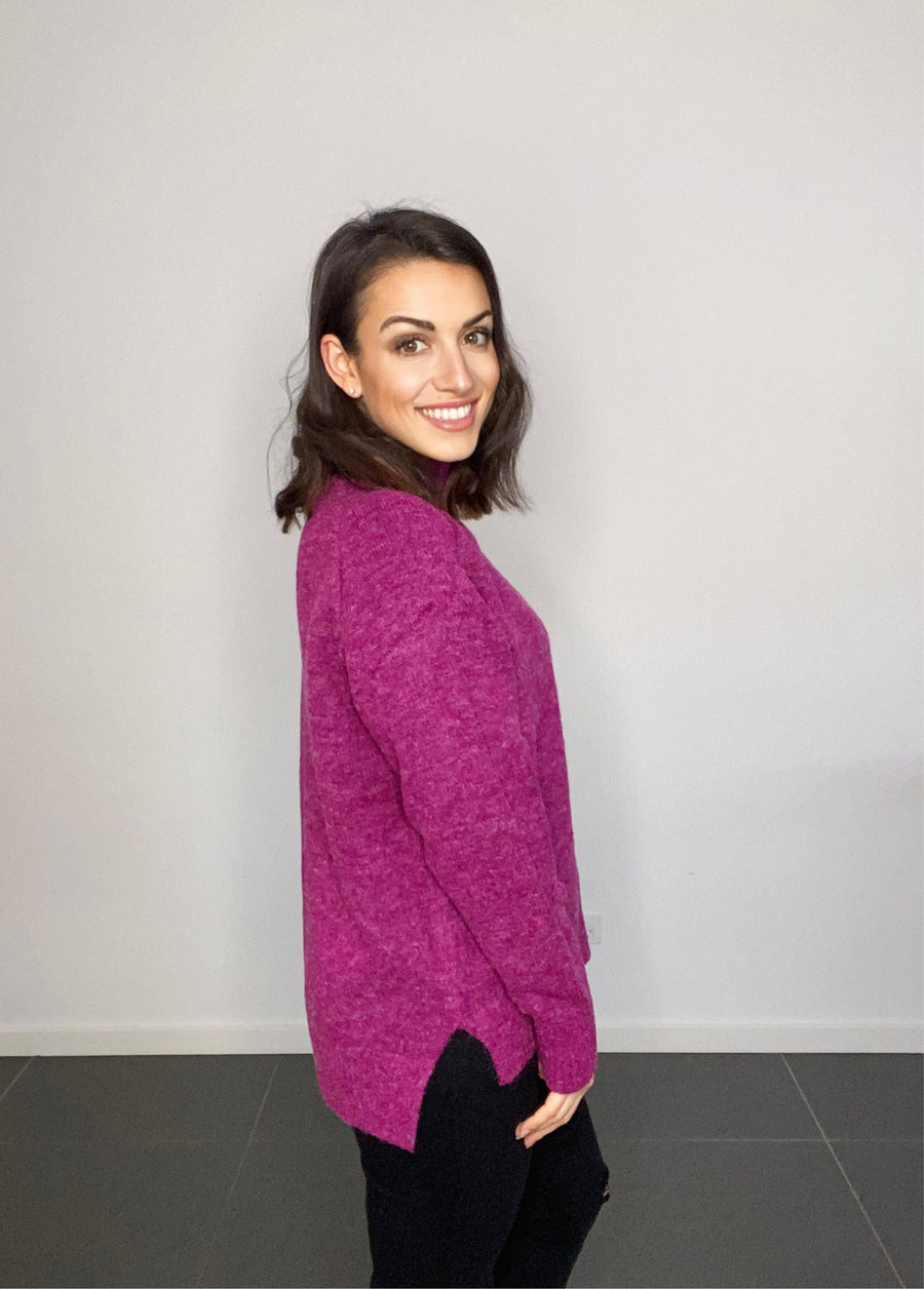 Heidi Pom Pom Sweater | Fuschia - Gray Label Knit Gray Label