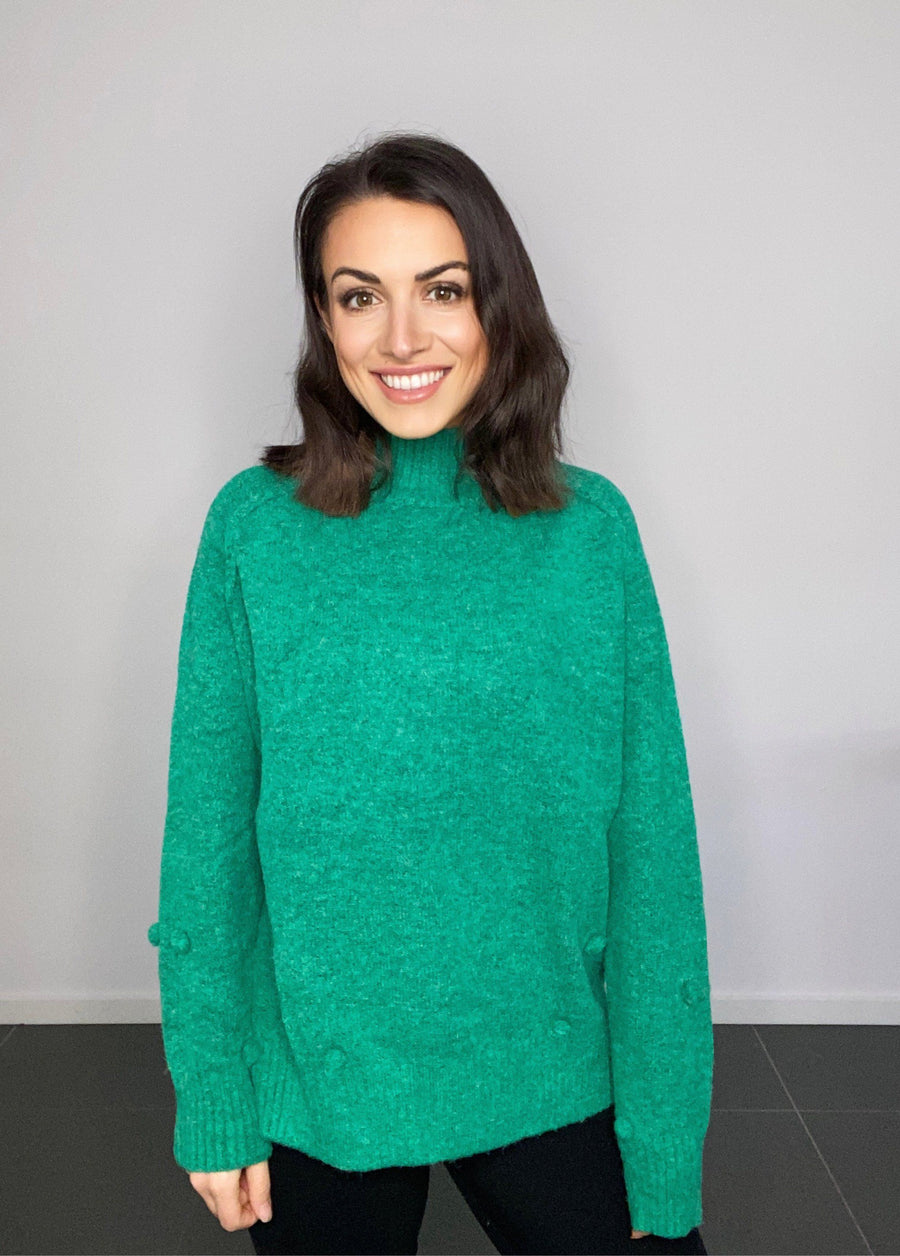 Heidi Pom Pom Sweater | Green - Gray Label Knit Gray Label