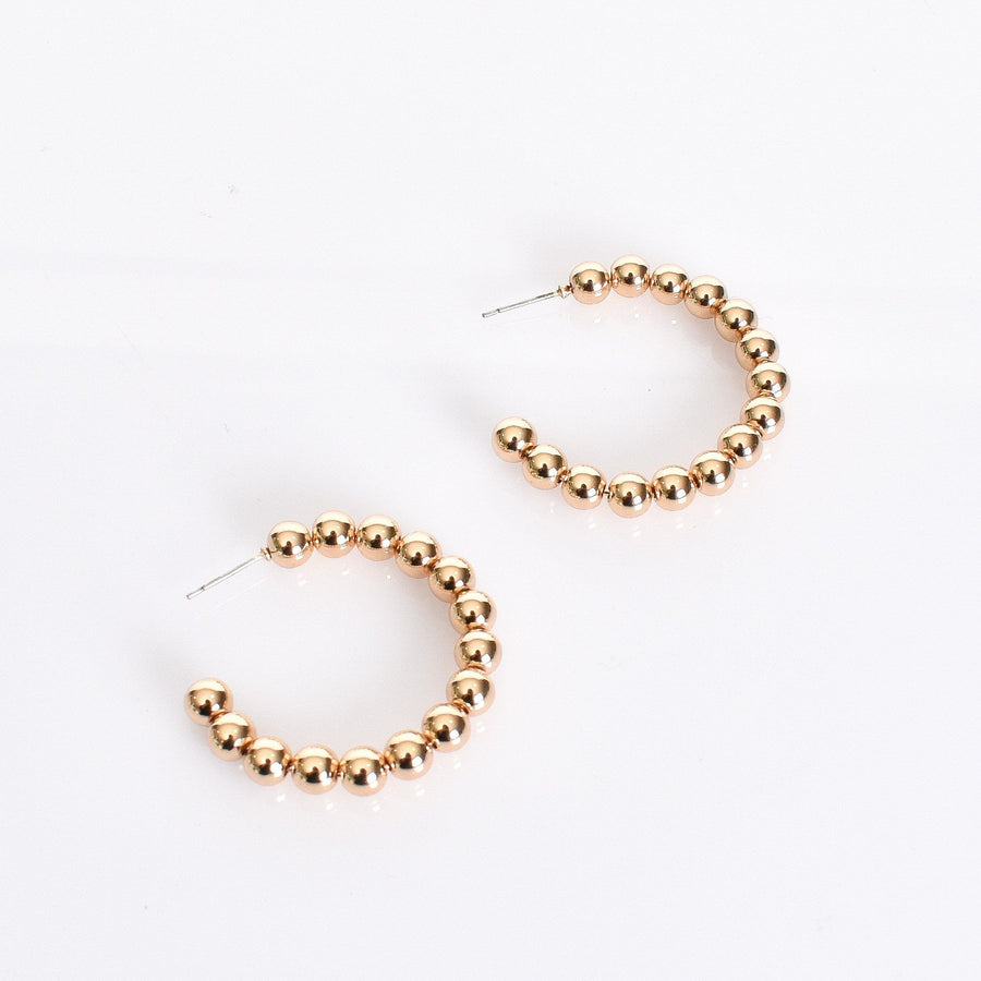 Hoops | LUXE COLLECTION - Stella Ball Hoops - Gold Earrings Linart Designs