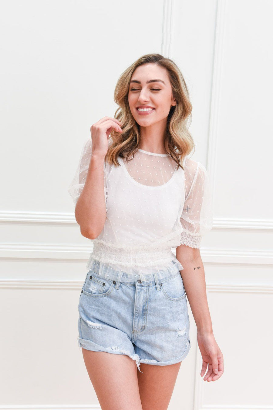 Isla Ripped Denimn Shorts | Light Blue Shorts Gray Label