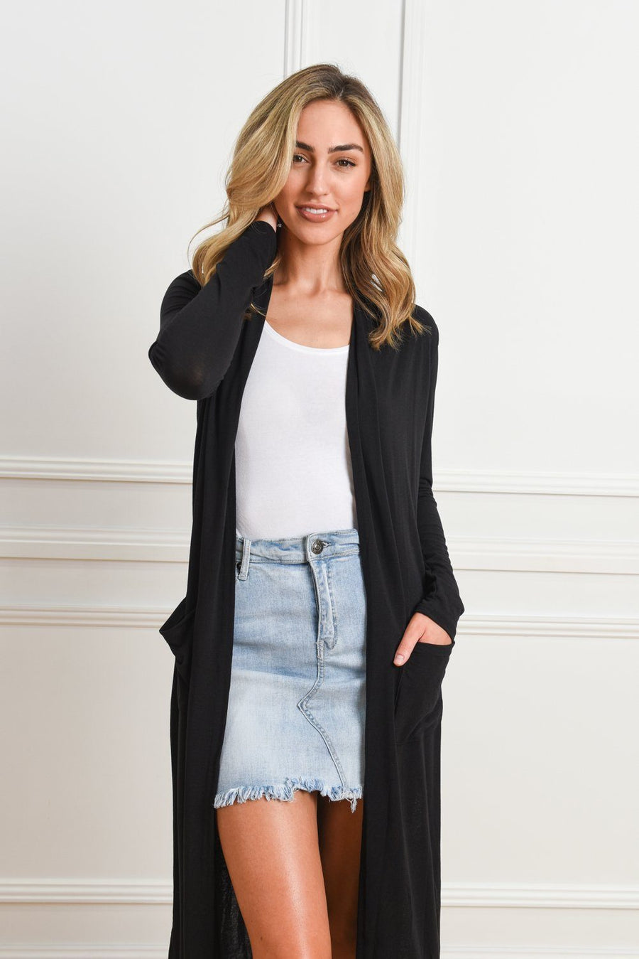 Kendall Longline Cardi | Black Cardigan Gray Label