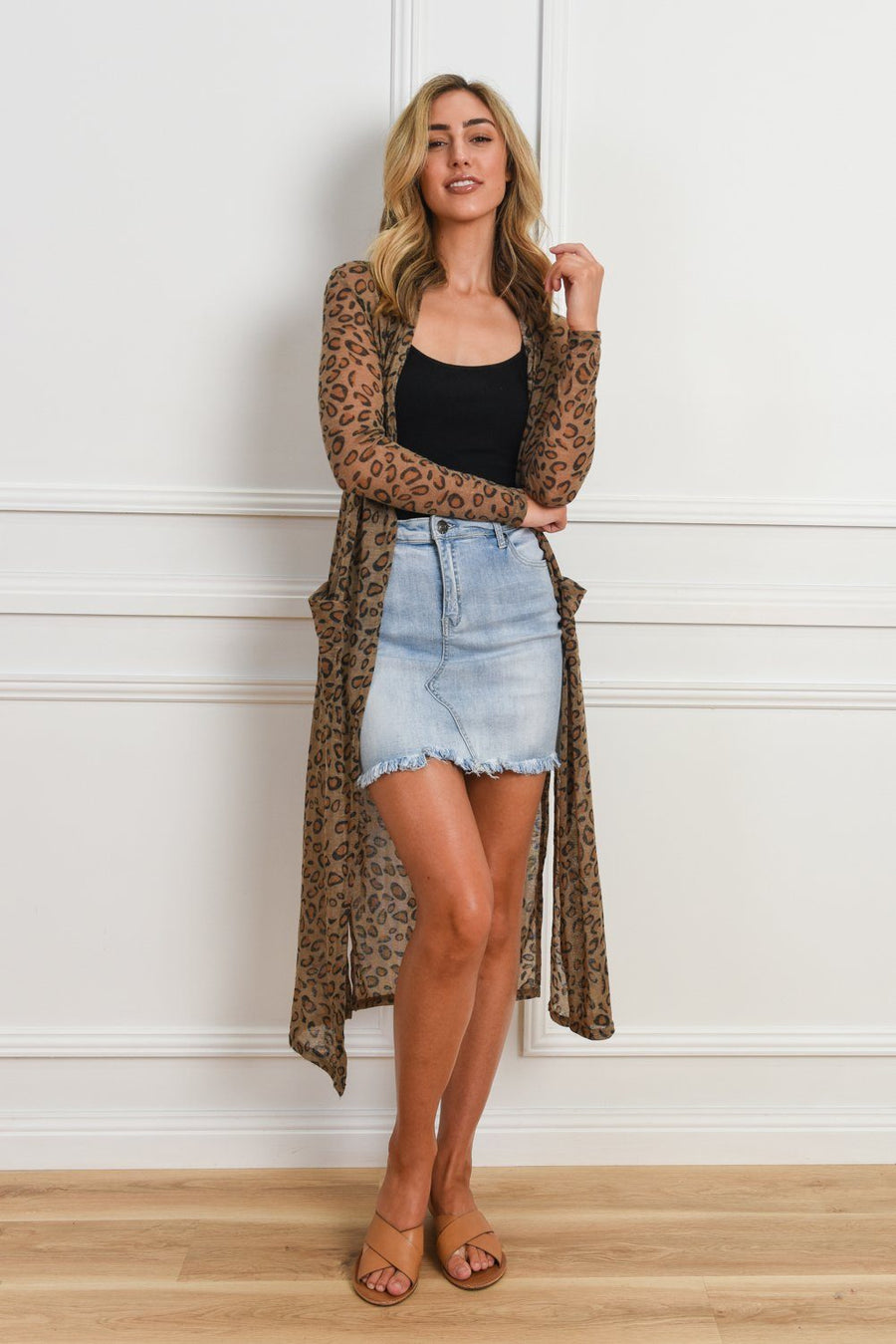 Kendall Longline Cardi | Brown Leopard Cardigan Gray Label
