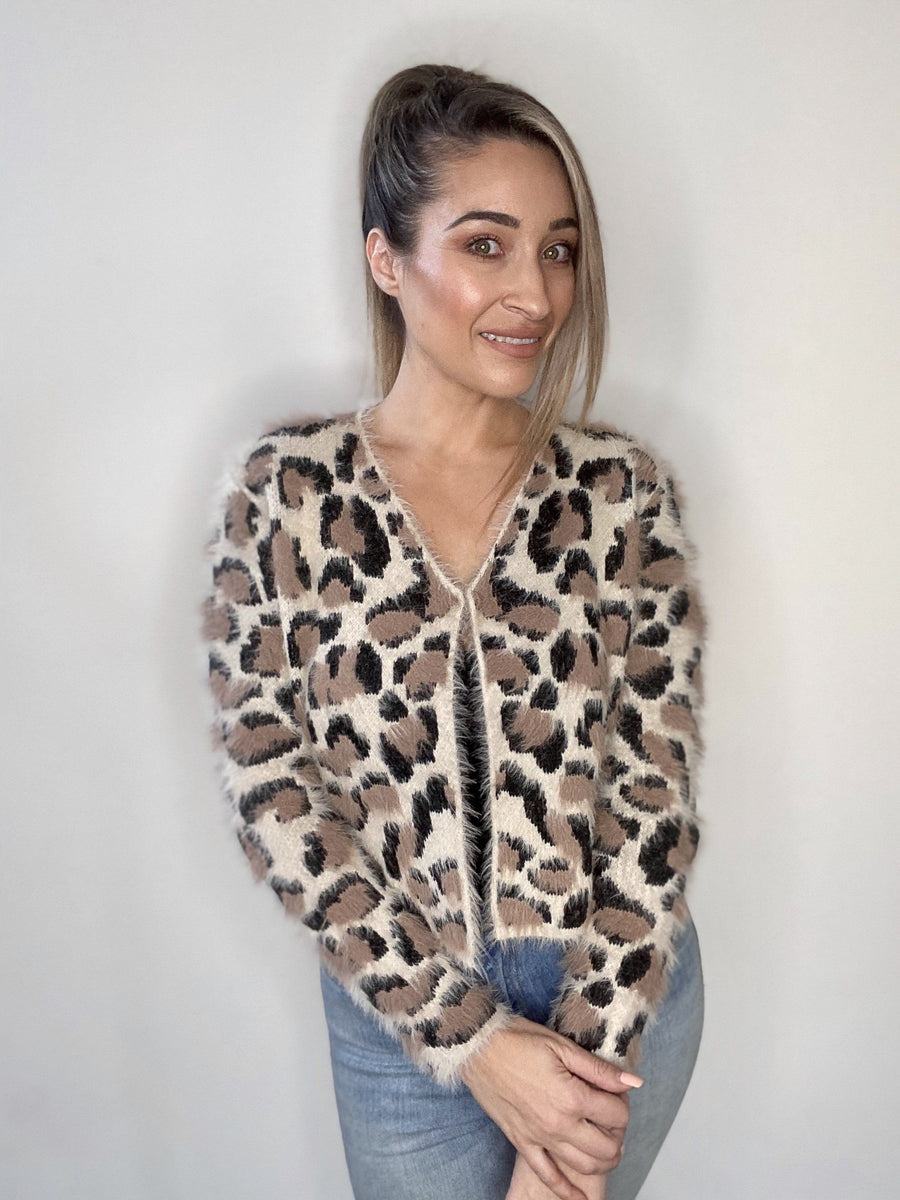 Kerry Leopard Cardi Cardigan Gray Label