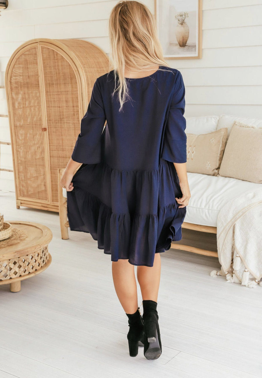 Kylie Dress | Navy Dress Gray.Label