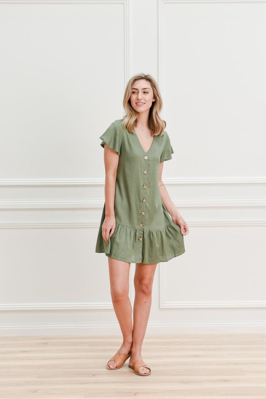 Kyree Button Dress | Khaki Linen Dress Gray.Label