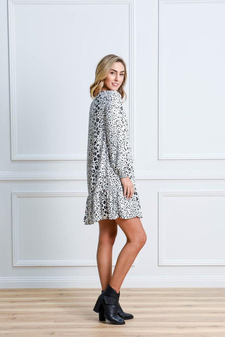 Kyree Button Dress | Monochrome Leopard Dress Gray.Label