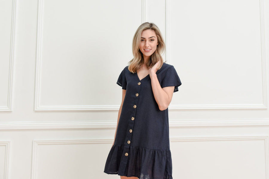 Kyree Button Dress | Navy Linen Dress Gray.Label