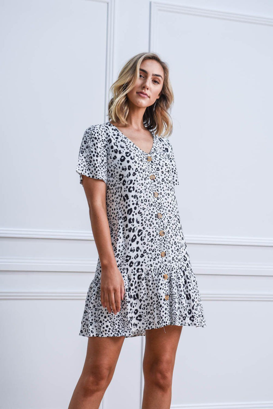 Kyree Button Dress | White Spot Dress Gray.Label