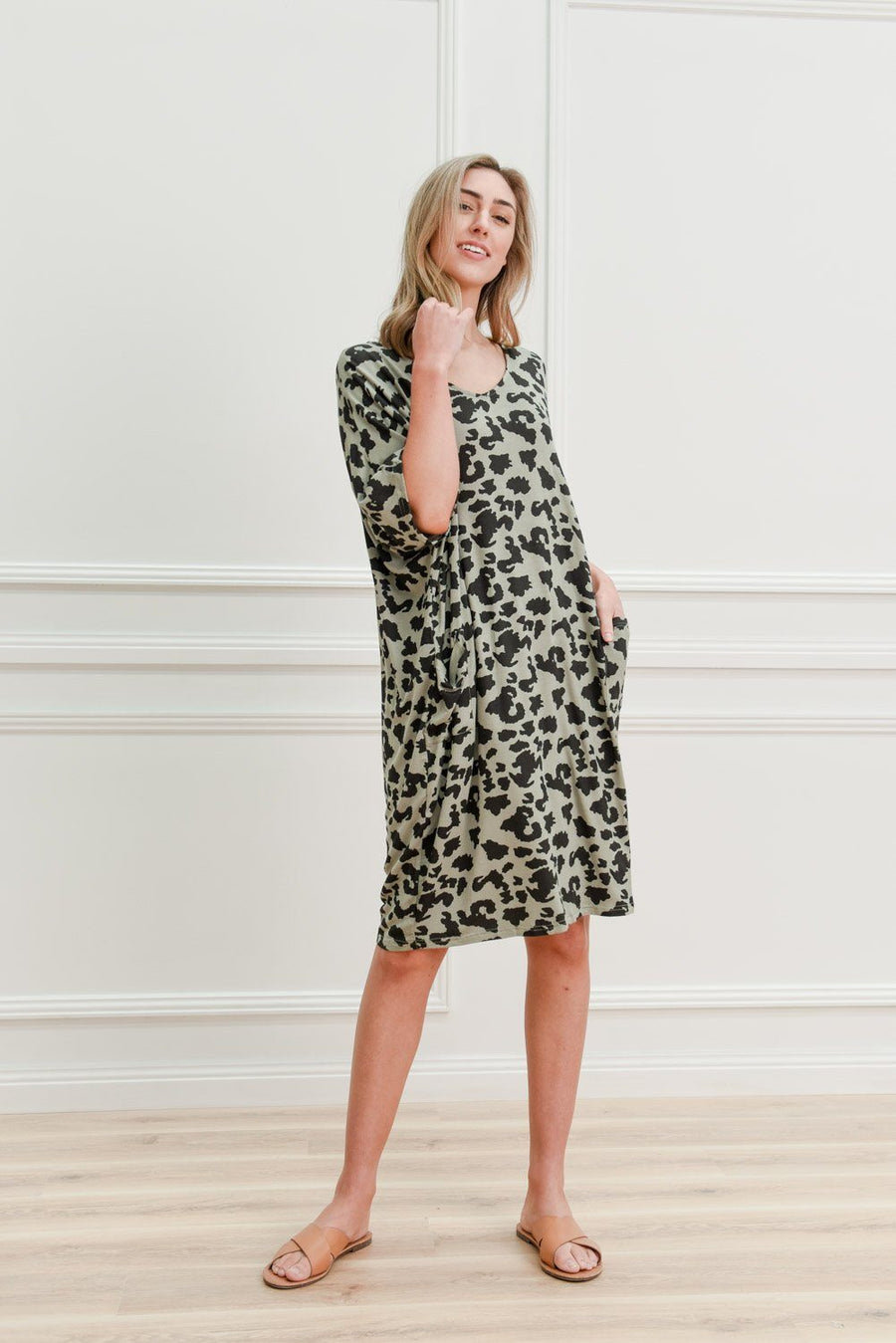 Leah Dress | Leopard Dress Gray Label