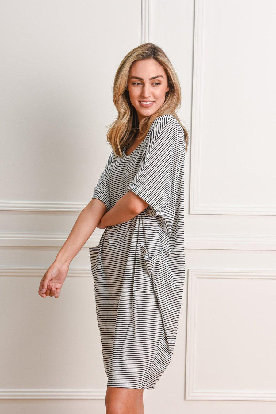 Leah Dress | Stripe Dress Gray Label