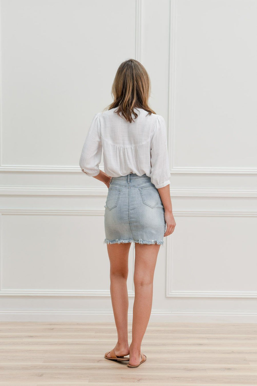 Lenny Skirt | Light Blue Denimn Skirt Gray Label