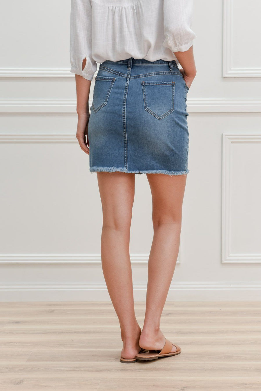 Lenny Skirt | Mid Blue Denimn Skirt Gray Label