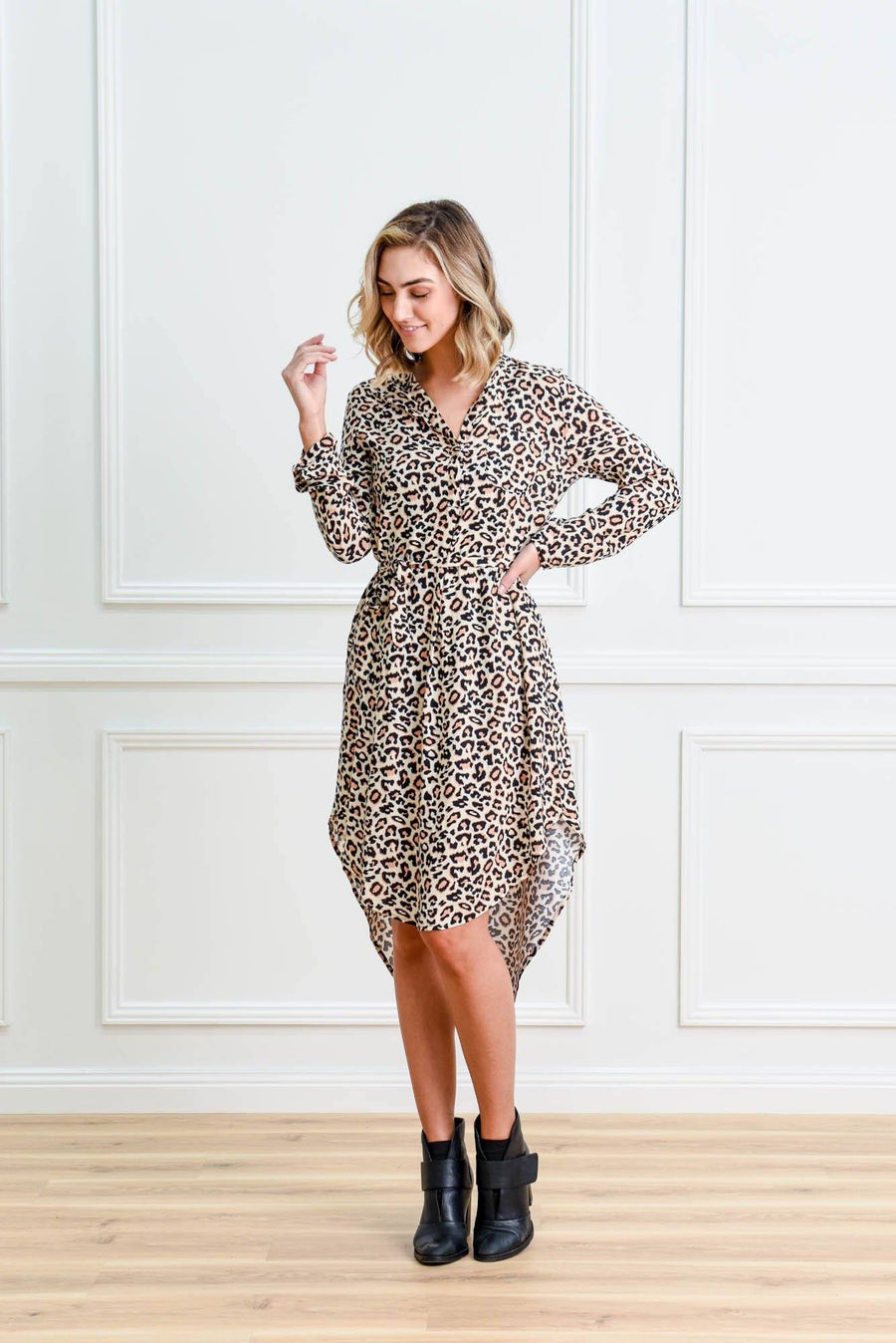 Lina Leopard Shirt Dress Dress Gray Label