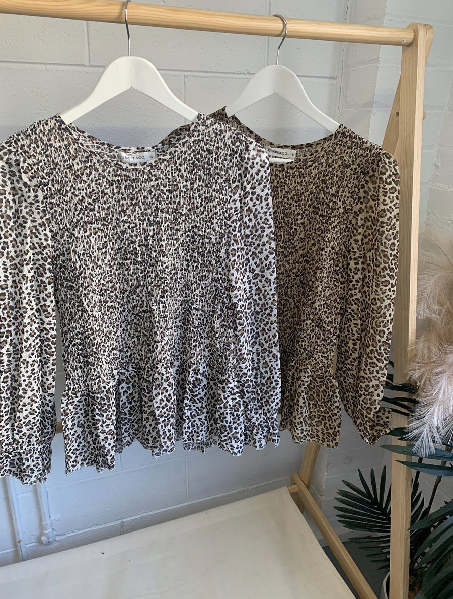 Lina Top | Snow Leopard Top Gray Label