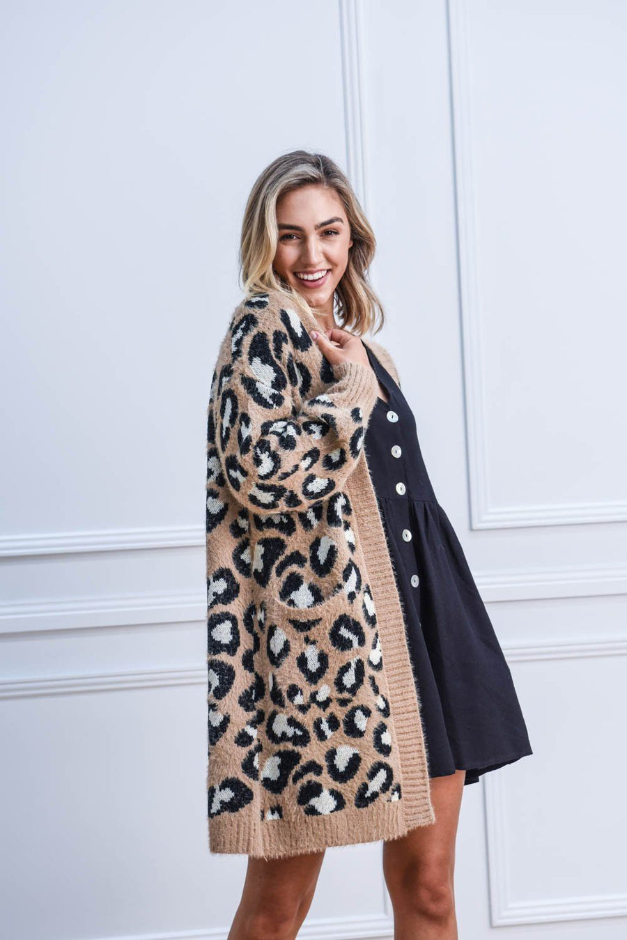 Lou Cardi | Tan Leopard Cardigan Gray Label