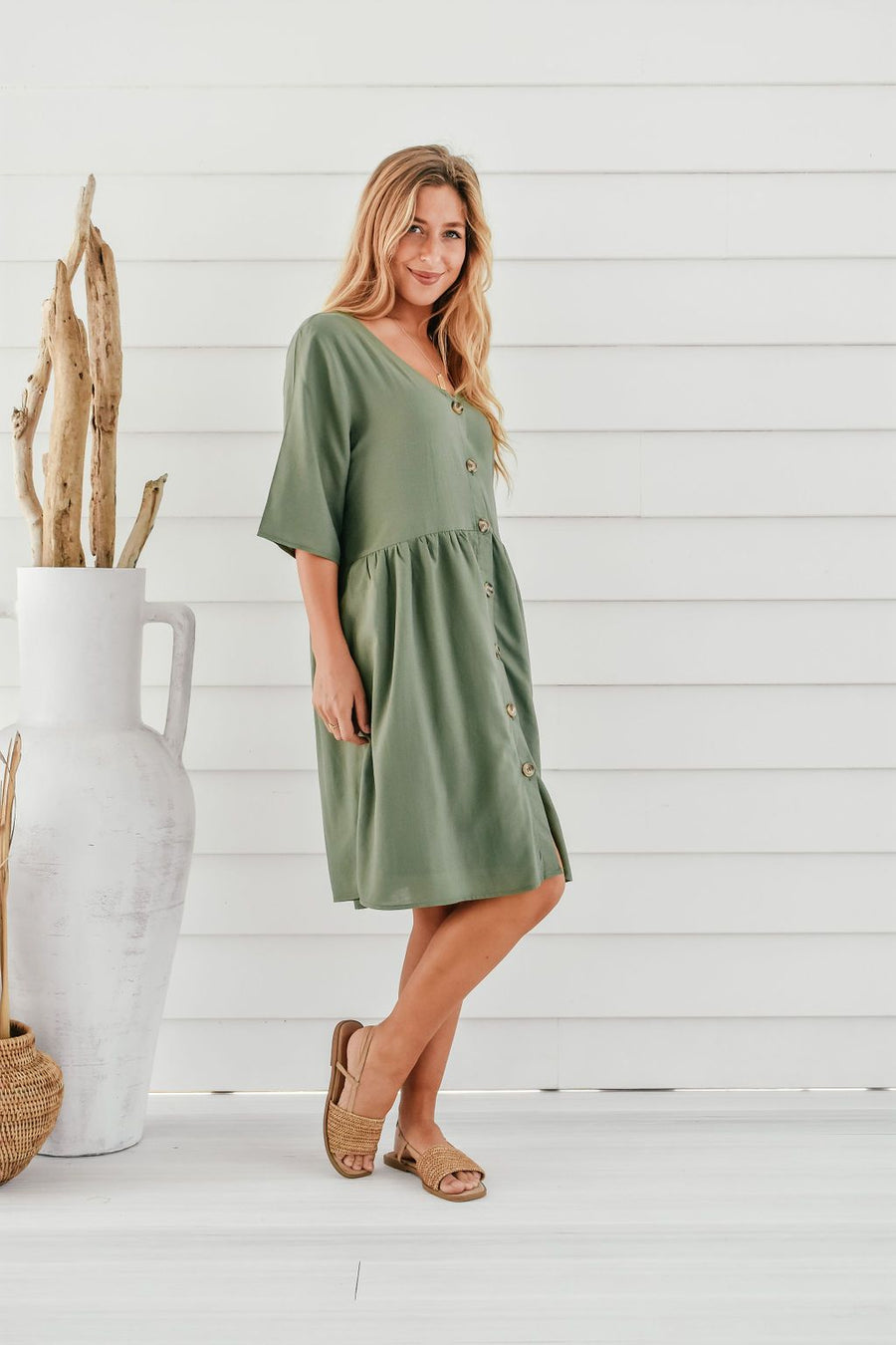 Lucy Tunic | Green Linen - Gray Label Dress Gray.Label
