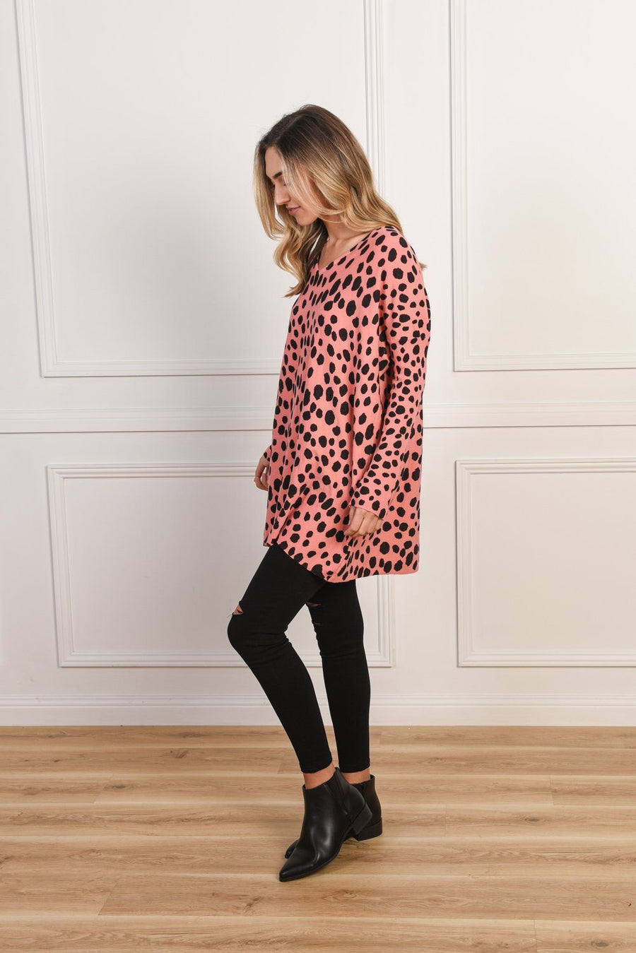 Mason Knit | Pink Leopard Knit Gray Label