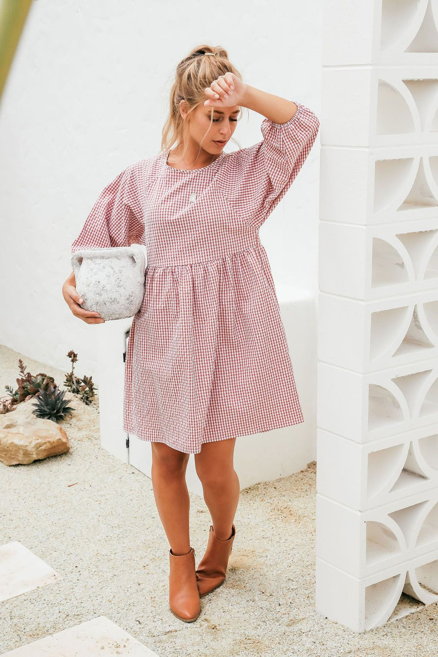 Maya Dress | Fuchsia Gingham Dress Gray.Label
