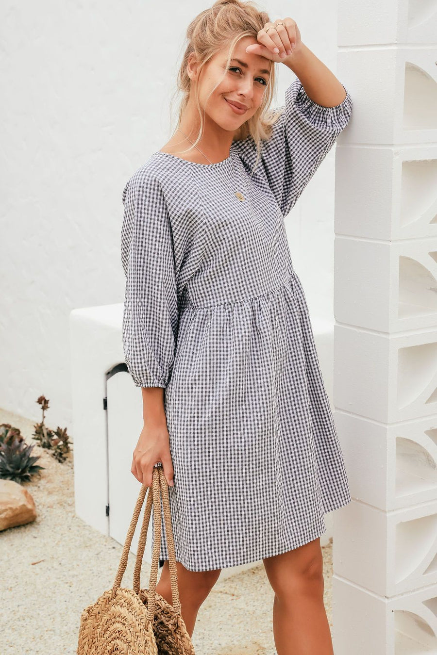Maya Dress | Navy Gingham Dress Gray.Label