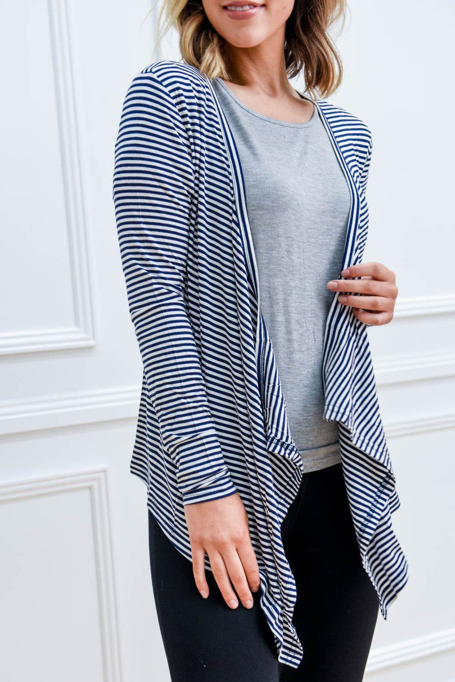 Melbourne Cardigan | Navy / White Striped Cardigan Gray.Label